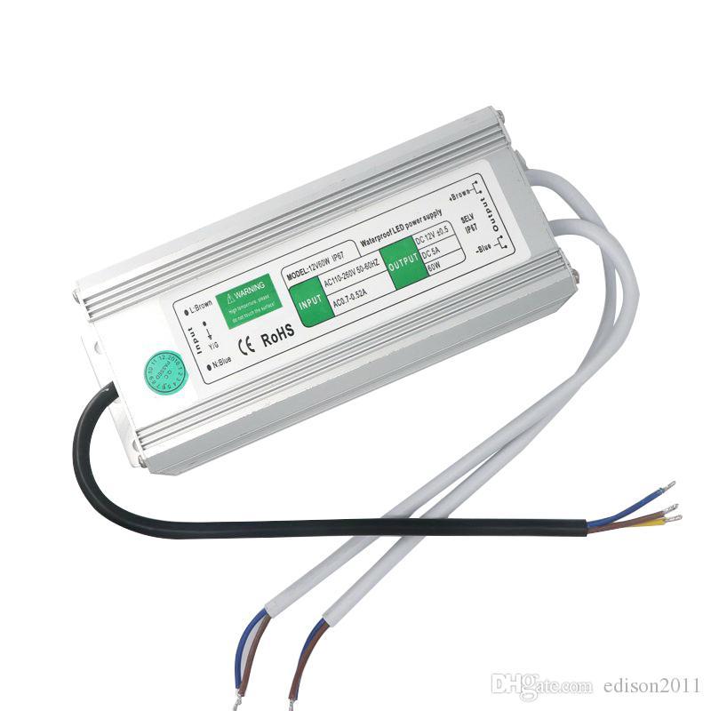 Edison2011 60 W Tamanho Grande Levou Fonte De Alimentação À Prova D 'Água IP67 DC 12 V AC 90 V-250 V Led Transformador Livre Shpping