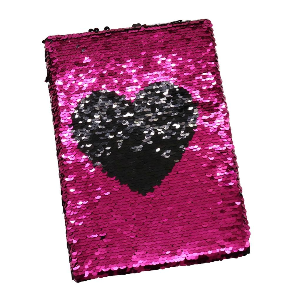 1 Pc Exquisite Heart-shaped NotSequins Double-sided Lovely Creative NotA5 Student School Writing Notebook