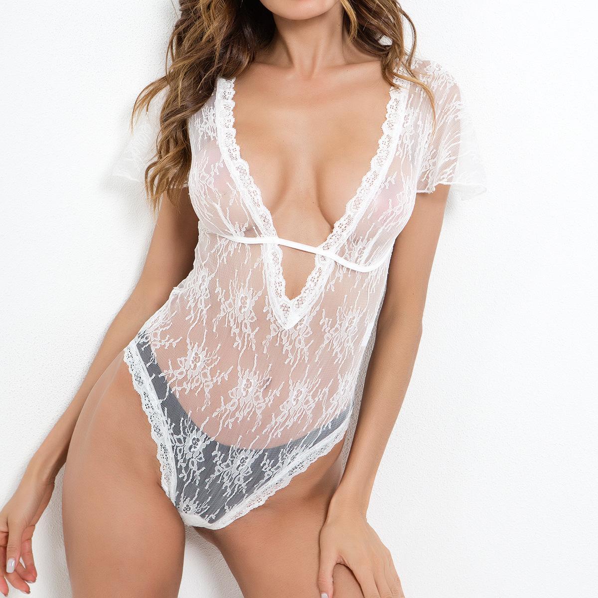 여성 섹시 의상 짧은 소매 테디 바디 수트 딥 브이넥 바디 수트 투명한 레이스 원피스 나이트 가운 레오타드 고품질