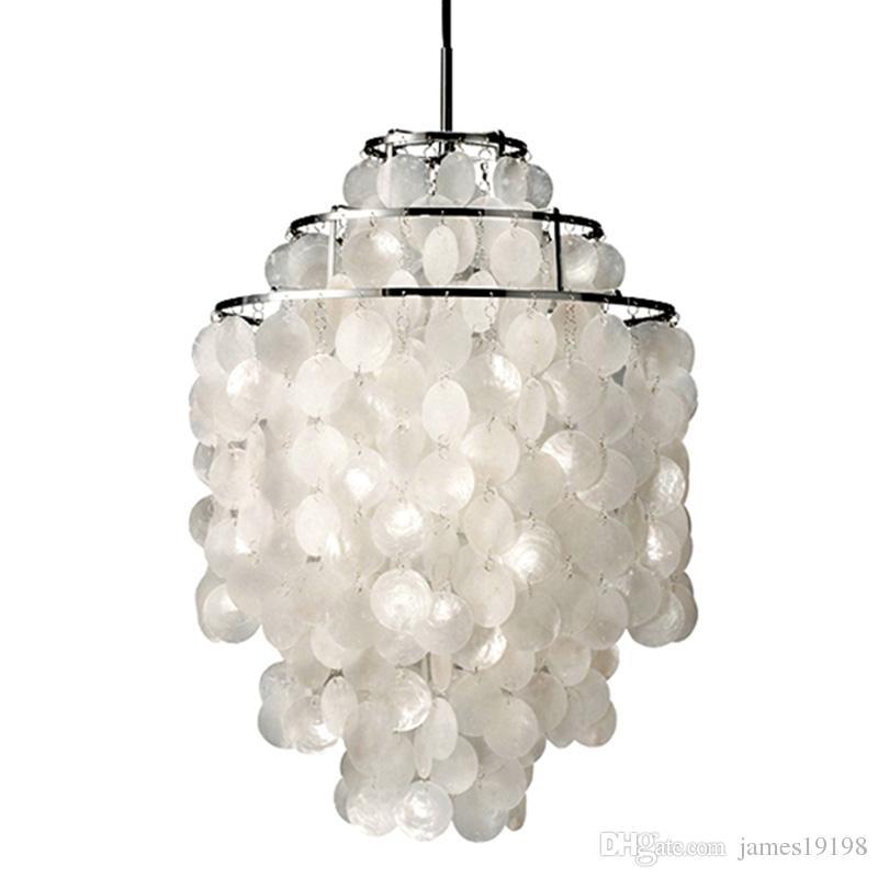Lampade Shell naturale luce del pendente bianco ciondolo lampade Shell naturale luminoso della lampada moderna Nordic Seashell Lights Fixture casa E050