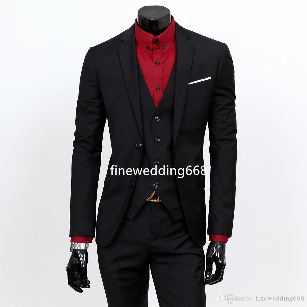 Trzy kawałek Skinny Dwa Przyciski Notch Lapel Wedding Groom Tuxedos Men Garnitury Ślub / Prom / Dinner Best Man Blazer (Kurtka + Kamizelka + Kamizelka + Spodnie)