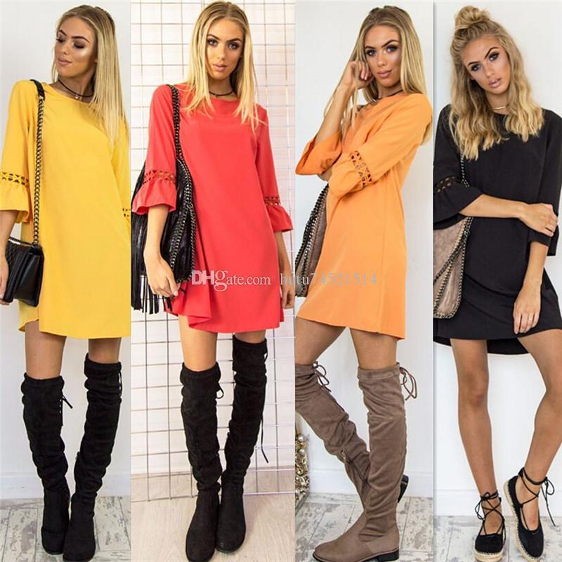 Kadın Yaz Elbise Bahar Flare Üç Çeyrek Kol Dantel Patchwork Elbise Rahat O Boyun Bayanlar A-Line Elbiseler Vestidos