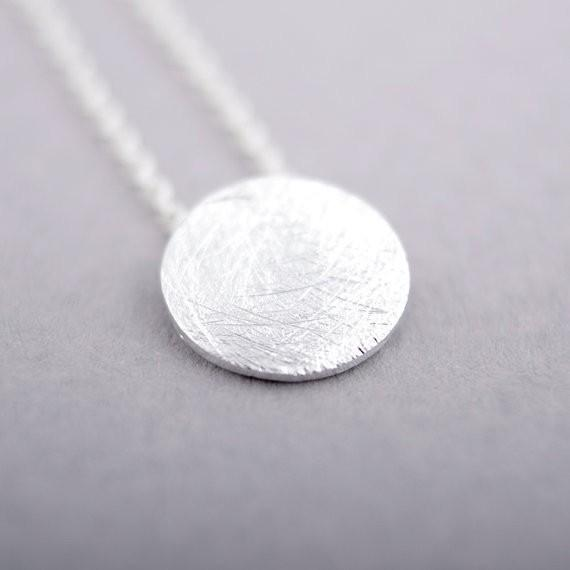 Fashion Gold-color silver plated Brushed Round Circle Necklace Pendant Necklace for women gift Free Shipping Wholesale