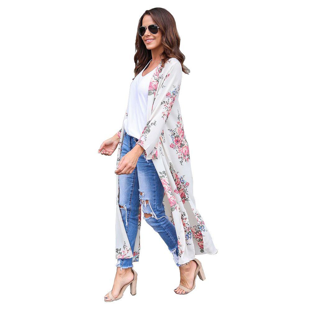 Kadın Şifon Kimono Hırka Çiçek Baskı Plaj Boho Giyim Yaz Gevşek Bikini Kapak