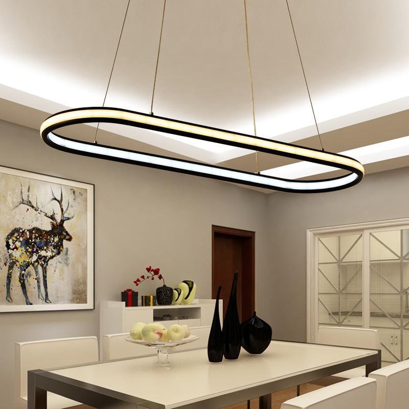 Compre Luces Colgantes Modernas Para El Comedor De La Sala De Estar 4/3/2/1  Anillos Circulares De Cuerpo De Aluminio Acrílico Lámpara De Techo LED A ...