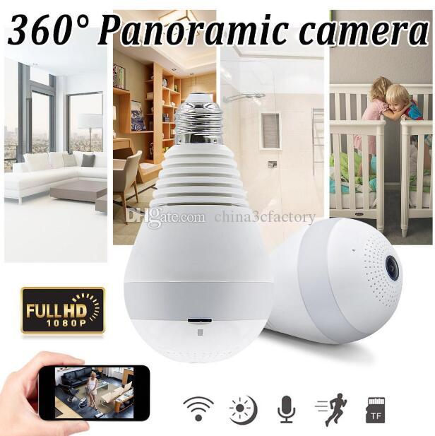 واي فاي ضوء لمبة كاميرات الأمن 2MP 1080P 360 درجة بانورامي مراقبة نظام أمن الوطن كاميرا لاسلكية IP CCTV مراقبة الطفل الكاميرا