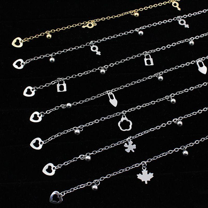 Braccialetto a forma di cuore della stella chiave per le donne dell'uomo del braccialetto della catena della nappa 25cm della catena del braccialetto della catena del braccialetto della catena di modo della catena della nappa dell uomo 25cm