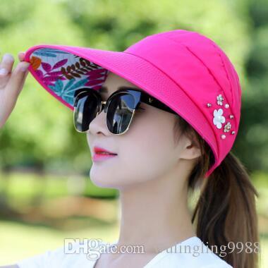 Fashion breiter Krempe Hüte Dame mit Perle Blume faltbare Strandhüte Mädchen Stroh Sonnenschutz Faltbare Sonnenhut Sonnenschutzkappe Top Caps 14 Farben