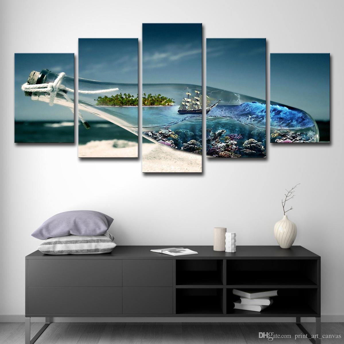 Home Decor Quadri su tela Wall Art 5 pezzi Ocean World in un Wishing Bottle Paintings HD Poster Beach Sailboat Poster