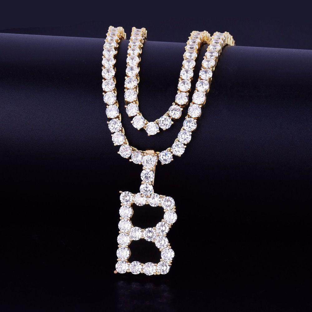 Zircone Tennis lettere collane del pendente con nome a fascino per gli uomini / donne, Oro, Argento dei monili di Hip Hop con la catena cubana