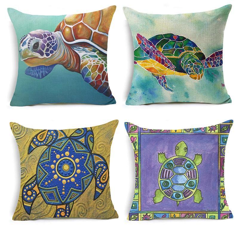Funda de almohada de lino de algodón de CuteLovely Funda de almohada de mar 18x18 pulgadas Cintura de animal Tortuga Throw Pillow Cover