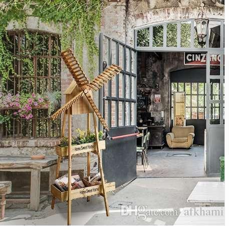 Jardín de madera hogar molino de viento estante soporte de flores ornamento suave decoración molino de viento decoración europea