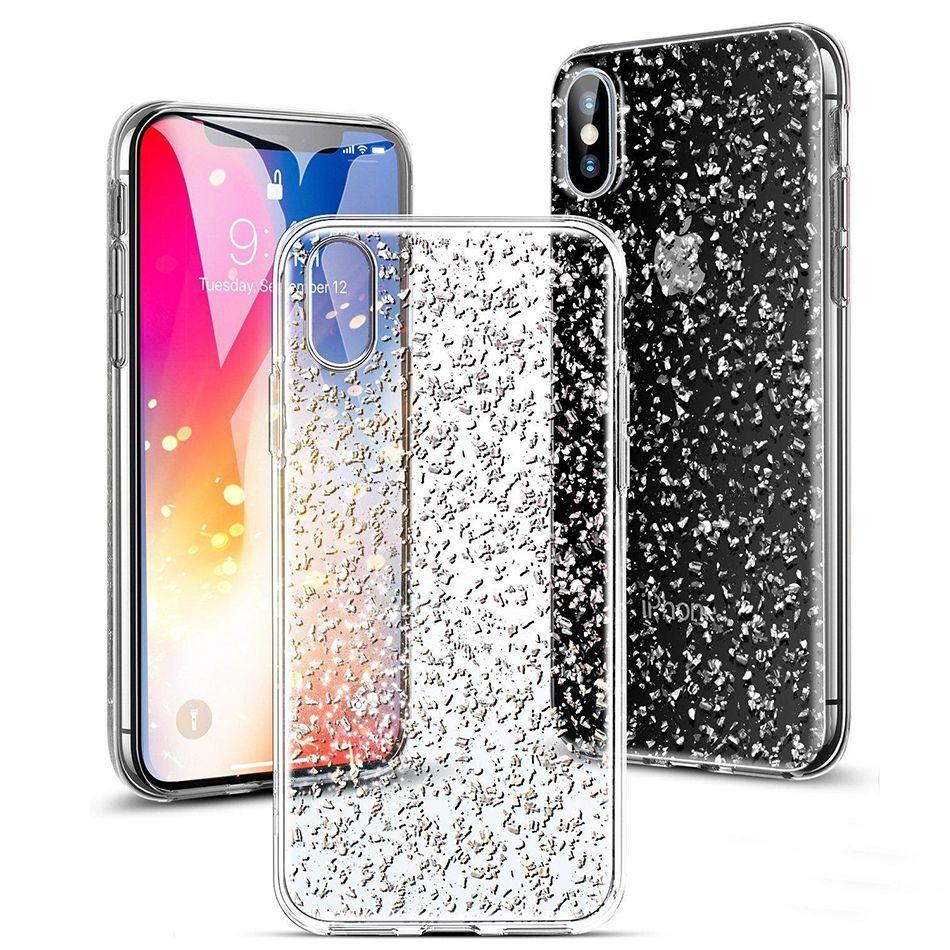 Bling Bling чехол для iPhone X Case Soft Блеск задней стороны обложки, футляры для Samsung S8 S9 Plus J7 2017 A5 2017 с OPP Bag