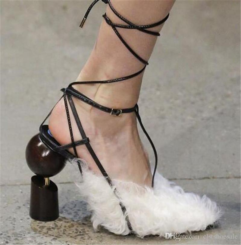 Novo Design de Moda Feminina de Camurça Parafusos de Bola De Couro Chunk Heel Bombas Lace-up Strass Strap Salto Alto Cruz Sapatos de Salto Alto Sapatos De Casamento