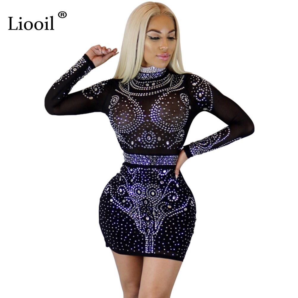 Liooil Frauen Kristall Kleid Langarm Bodycon Durchsichtig Mesh-Kleid Schwarz Weinrot Aprikose Diamanten Sexy Club Party Kleider