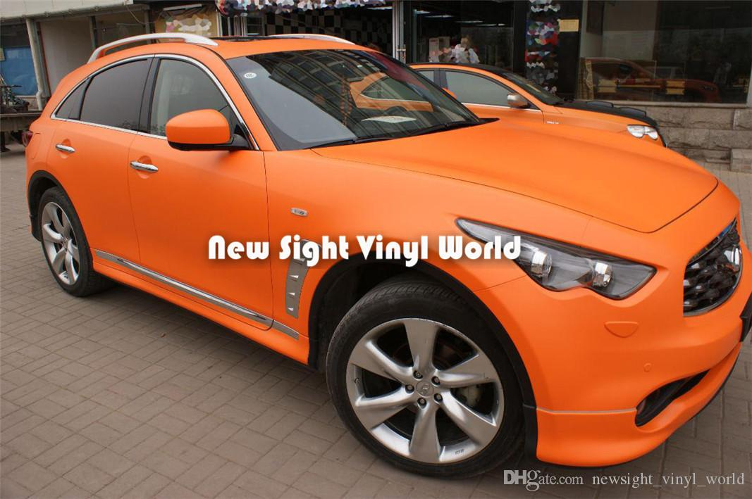 Matte Oranje Auto Wraps Vinyl Auto Decal Air Free Bubble For Car Stickers Grootte: 1,52 * 30m / roll