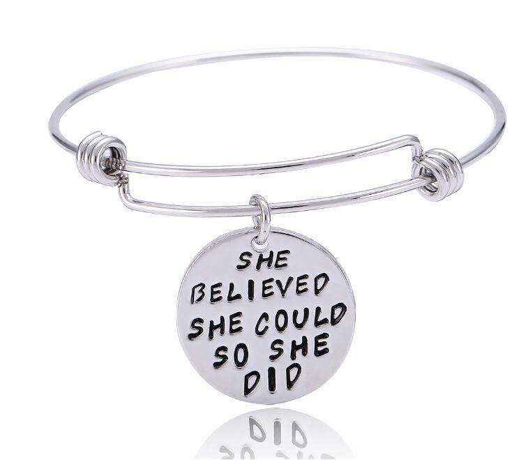 Silvertone Large White Enamel Baseball She Believed She Could Bangle Bracelet
