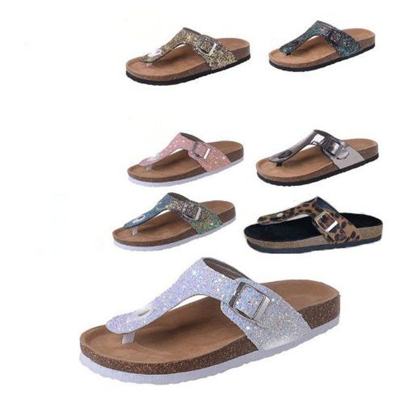 Cork Slippers Sequins Beach Flip Flops Women Fashion Soft Wooden Sole Slippers Lady Flip Flops Outdoor Vogue Slippers Sandals Glass Slipper Blue Shoes