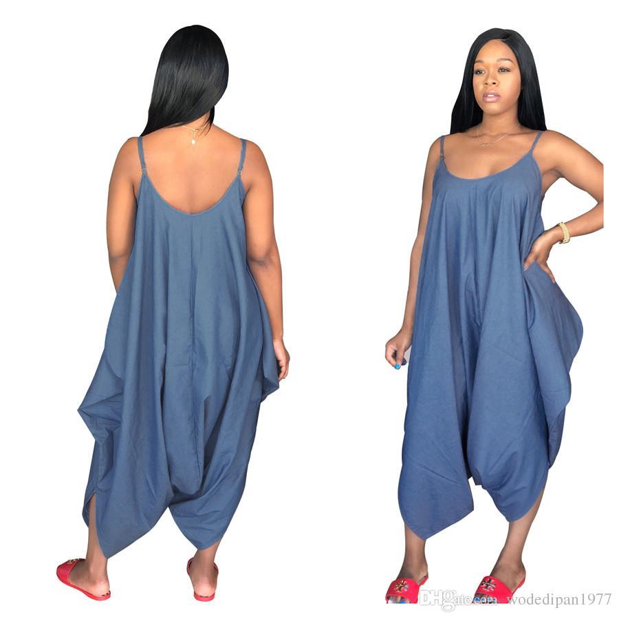 Femmes Sexy Loose Strap Jeans Combinaisons Salopettes Femme Plus La Taille D'été De Mode Denim Bretelles Pantalon Drop Shipping