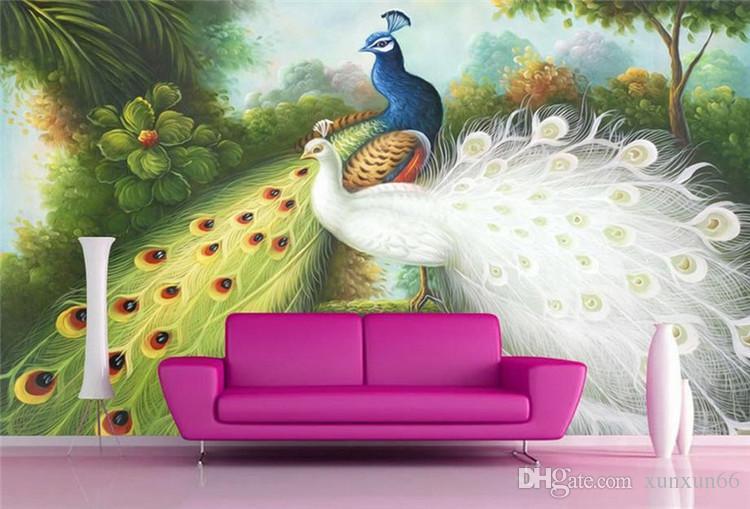 murais 3d papel de parede personalizados 3d mural foto Mão pintado pavão papel de Parede fazer luxo papel de parede