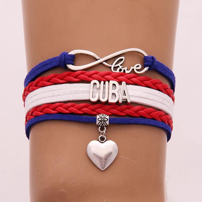 Unisex Infinito Amor Nacional Bandeira CUBA Pulseira de Couro Charm Bracelet Bangles para Mulheres Homens Jóias