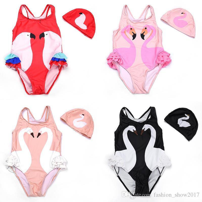 Costumi da bagno intero per bambina Bikini con cappuccio Costumi da bagno per bambini Costume da bagno per bambini Bambini Monokini Cigno Fenicotteri Cartone animato Estate Top