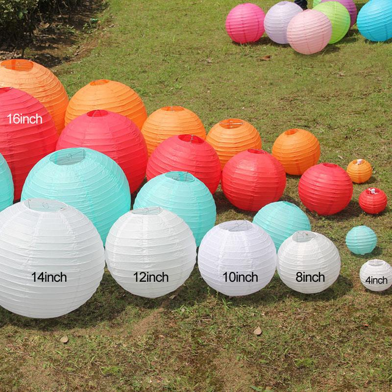 """10 Pieces 6"""" 8"""" 10""""12"""" 14"""" 16"""" White Pink Purple Light Blue Chinese Paper Lanterns Round Paper Ball Lamps Wed"""