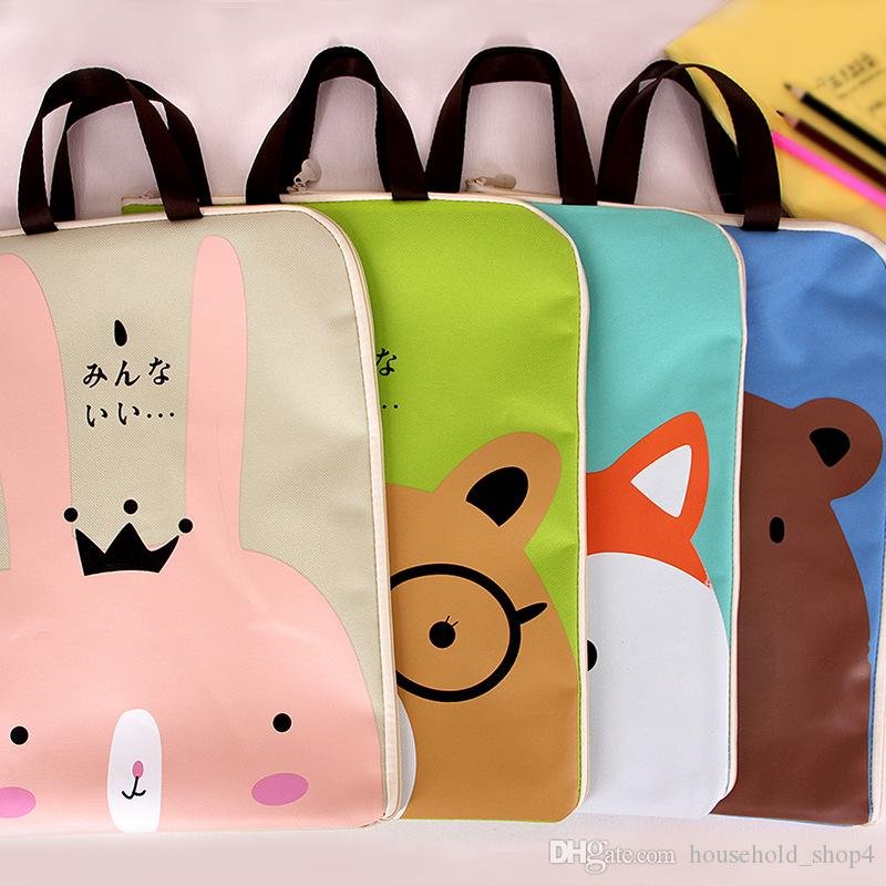 Cute Cartoon file packet canvas expanding file documents pouch A4 Zipper multifunctional canvas pencil bag handbag for students