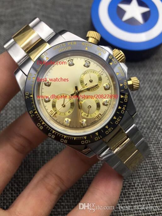 Luxury High Quality Watch 40mm 116503 116523 Sapphire 18K Yellow Gold Diamond No Chronograph Mechanical Automatic Mens Watches 3 Color