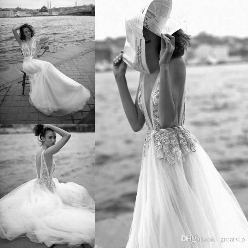 Liz Martinez 2019 Beach A Line abiti da sposa scollo a V con perline in pizzo Backless Appliqued abiti da sposa Sweep treno Boho abito da sposa paese