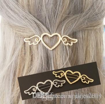 Kızlar Için saç Kelepçeleri / Bayanlar Açıları Wings Kalp Altın Gümüş Cut Out Metal Firkete Saç Kelepçe Klip