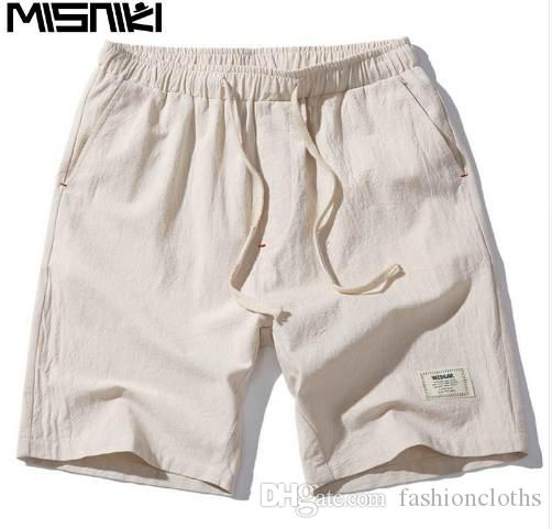 MISNIKI 2017 Hot Fashion Men Pantalones cortos Summer Linen Men Shorts (Tamaño asiático)