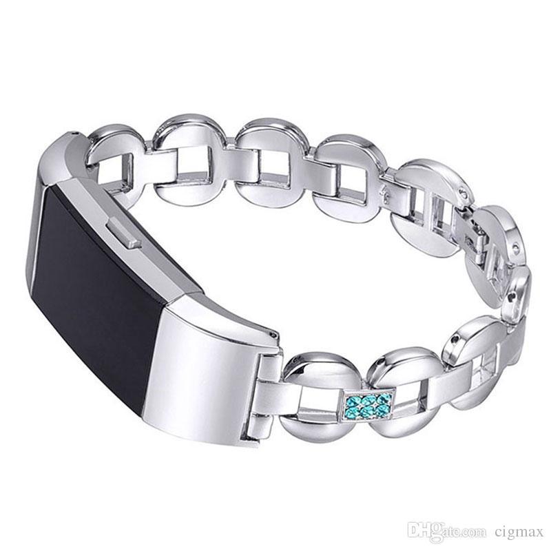 Cinturino da polso di lusso in acciaio inossidabile con cinturino in acciaio inossidabile per ricarica Fitbit 2 Smart Watch Braccialetto flessibile di ricambio regolabile