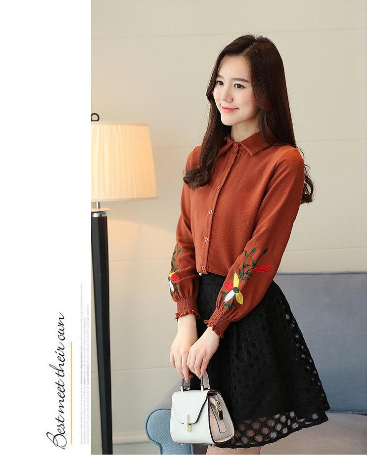 Women\`s Autumn Embroidery Tops 2019 Casual Long Sleeve Female Blouses Work Wear Corduroy Shirts Elegant Office Blusa Mujer Camisas (5)