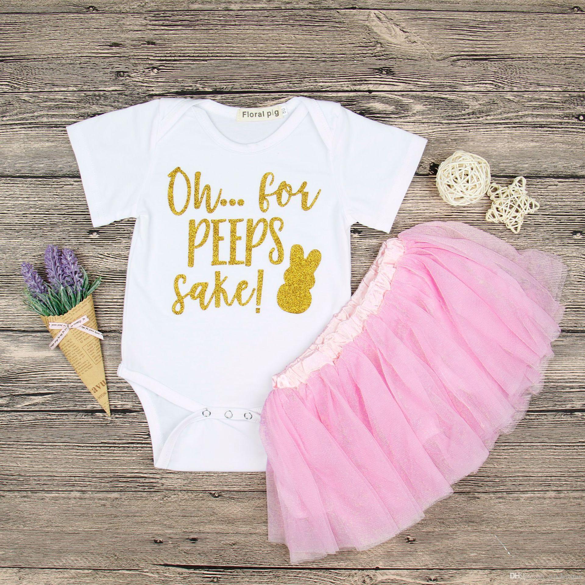 Baby girls Easter bunny outfits letter rabbit print romper+tutu lace skirts 2pcs/set 3 colors suits 2018 Boutique Kids Clothing Sets