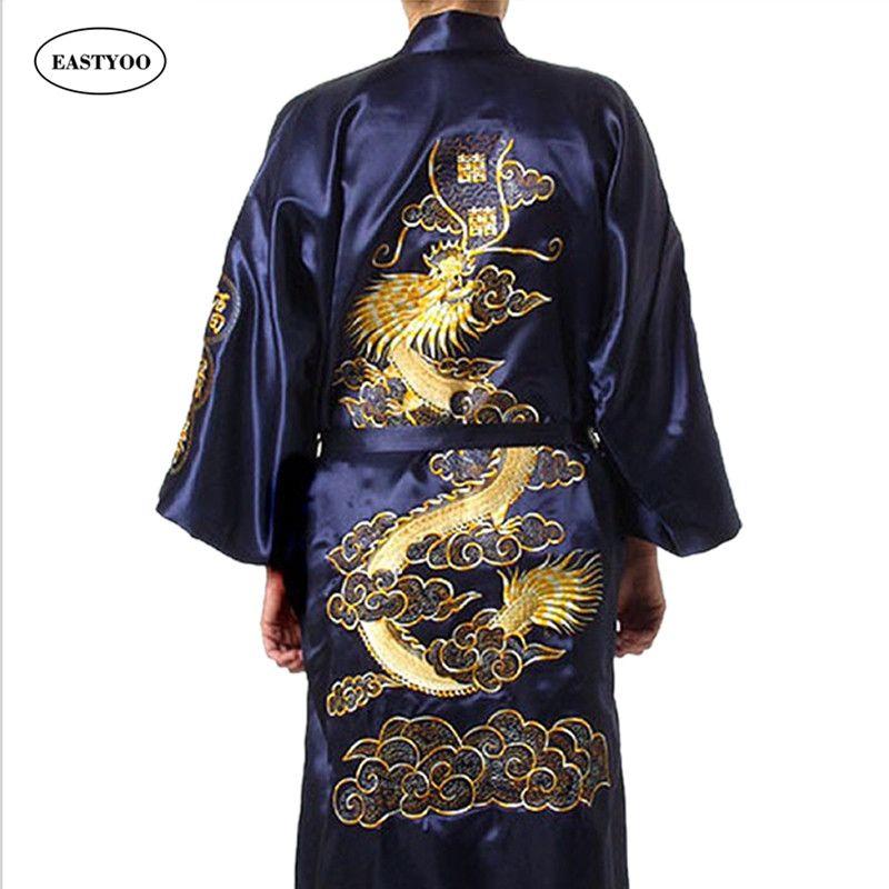 التنين الحرير الجلباب الرجال الحرير منامة حزام الحرير البيجامات زائد حجم البيجامات النوم صالة اليابانية رداء كيمونو الرجال البشكير