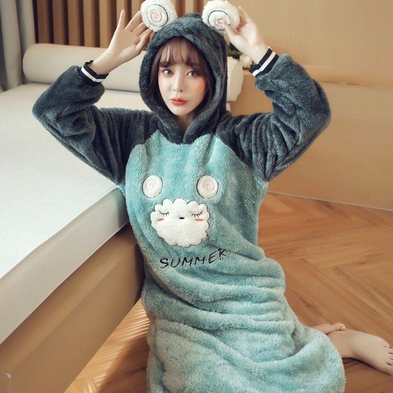 Camisón de franela lindo dulce con capucha estudiante de cachemira de coral cálido pijama de una pieza3543