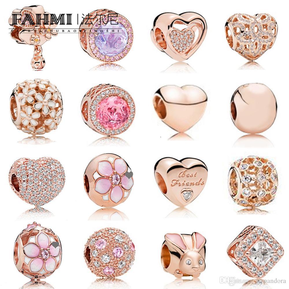 Fehmi% 100 925 Gümüş Charm Rose Gold Boncuk Kiraz Çiçekleri Tavşan Kalp Şeklinde Mizaç Nefis Moda Bayan Takı