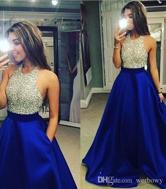 2020 새로운 도착 블루와 실버 비즈 크리스탈 댄스 파티 드레스 최신 바닥 길이 맞춤 제작 이브닝 가운 HY1629