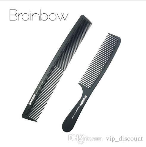 Brainbow 2 pc Cabelo Combs Anti-estática De Carbono Cabelo Escovas Pro Salon Hair-Styling Ferramentas de Cabeleireiro Cuidados Com Os Cabelos Barbeiros Lidar Com Escova