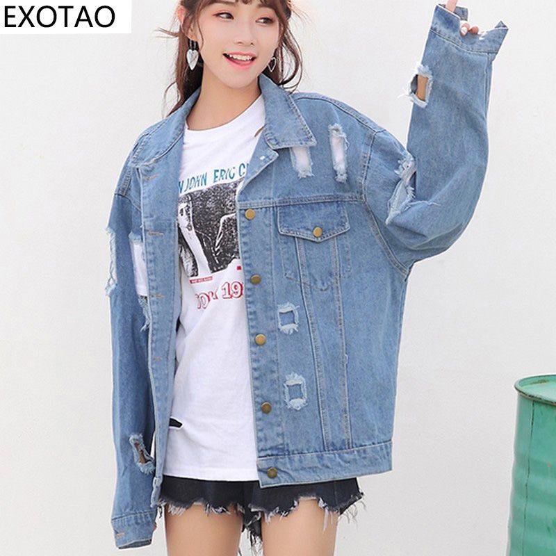 EXOTAO übergroßen zerrissenen Denim Jacken Frauen Denim Holes Herbst Jeans Jaqueta Batwing Ärmel BF Wind Coat weibliche heiße Chaquetas