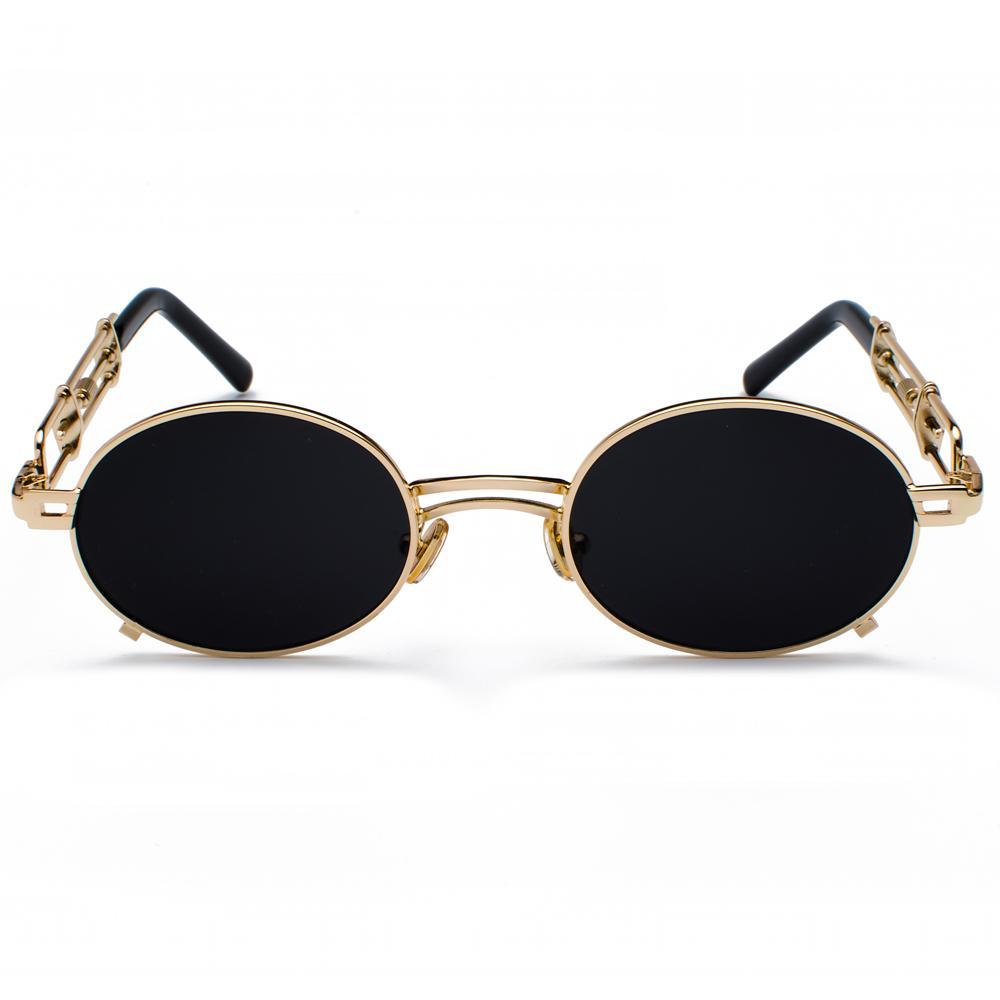 ретро Steampunk очки мужчин круглый год сбора винограда металлический каркас золото черные овальные солнцезащитные очки для женщин красный мужской подарок
