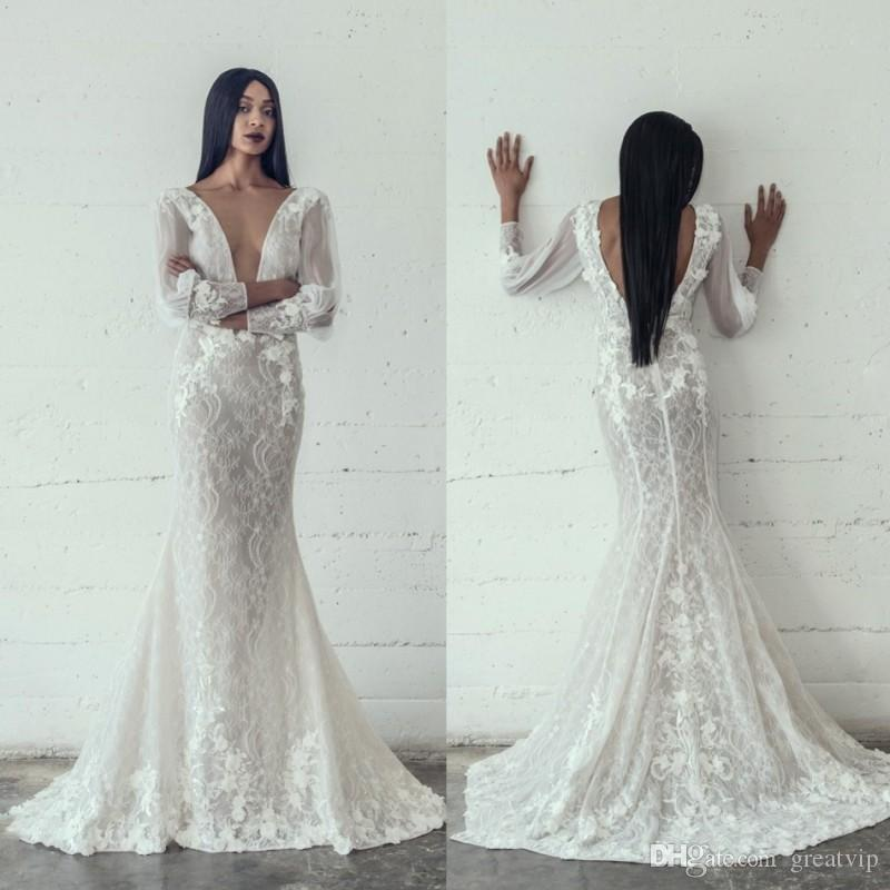 2021 Adam Zohar vestidos de casamento Sexy Mermaid Pescoço V Lace Tulle Backless Pavimento comprimento Plus Size Applique mangas compridas vestidos de noiva