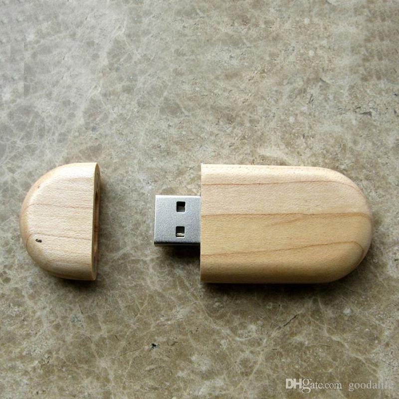 10 Piece 16GB 32GB No Logo Circular Wood U Disk Capacity Enough U Disk USB3.0 Environmental protection Circular USB Flash Drives