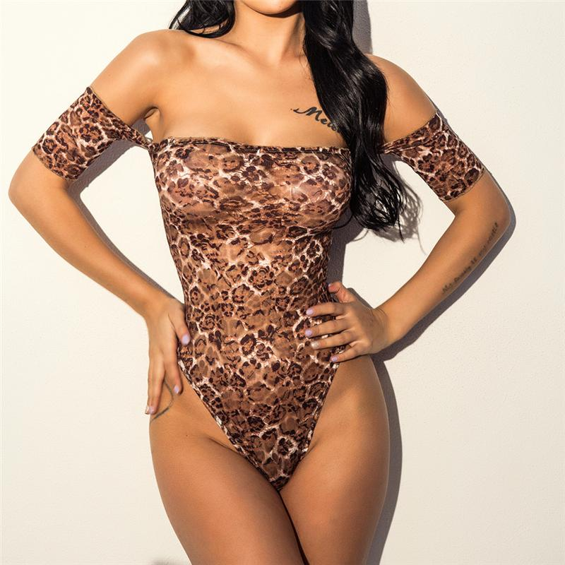 Verão Sexy Bodysuit para Mulheres Macacão Leopardo Verão Ultra-fino Barra Pescoço Bodycon Casual Fora Do Ombro Moda Bodysuit geral