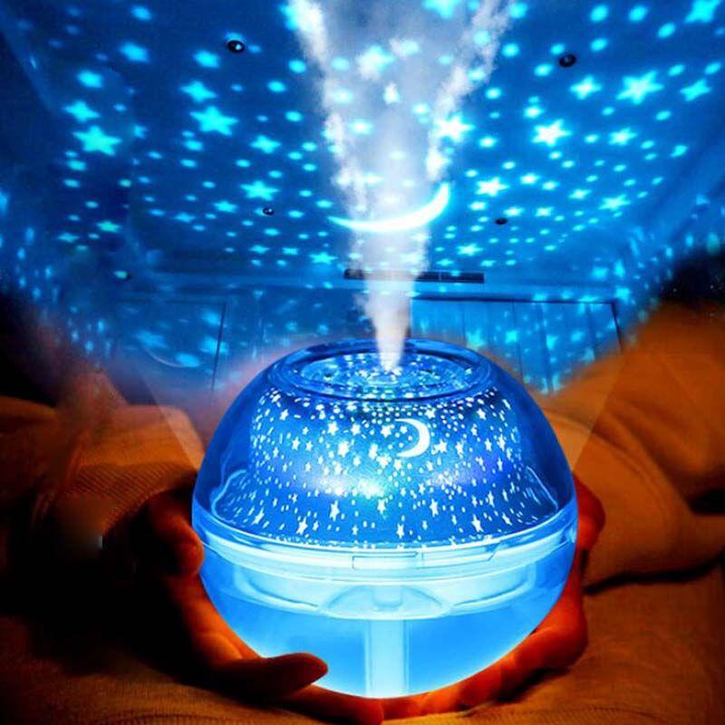 Nueva Lámpara de Proyección de Cristal Humidificador LED Luz de La Noche Colorido Proyector de Color Hogar Mini Humidificador Máquina de Aromaterapia