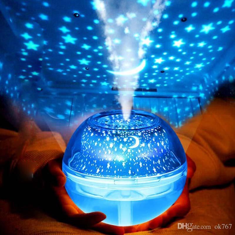 Nouveau cristal lampe de projection humidificateur LED lumière de nuit colorée projecteur de ménage Mini humidificateur aromathérapie machine