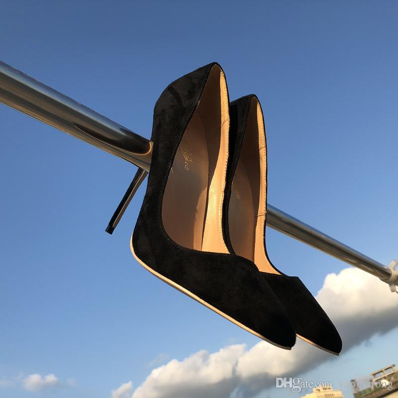 2018 mujeres 12 cm 10 cm 8 cm dedo del pie del dedo del pie bombas de tacón alto moda zapatos de tacón alto, zapatos de cuero negro rojo, personalizado 33-45