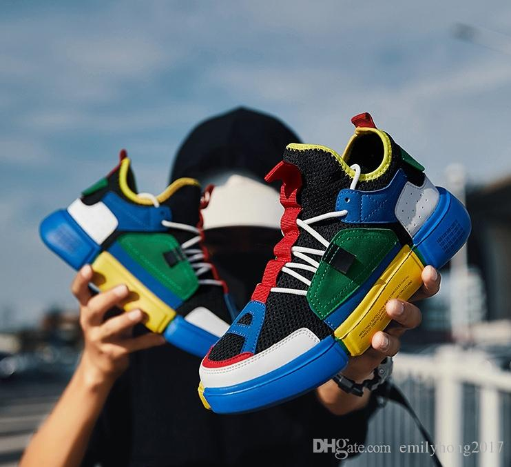 Sapatos masculinos tendência iluminação coreano sapatos dos homens leves respirável canvasstudent dança de rua sapatos de skate