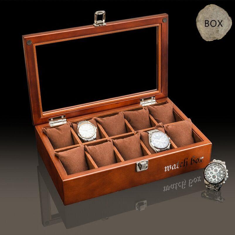أعلى 10 فتحات الخشب ووتش مربع الأزياء القهوة خشبية ووتش صناديق التخزين مع وسادة وقفل عرض هدية حالة w035